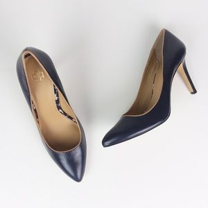 Anne Taylor Navy Blue Pointy Toe Heel Pumps